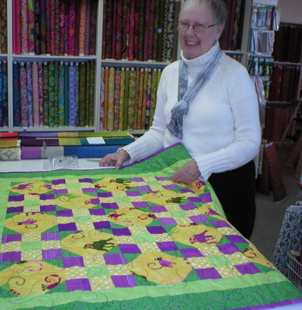 Carol Lee and the monkey quilt