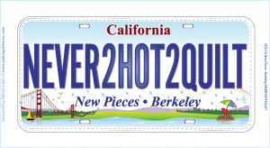 NEVER2HOT2QUILT license plate